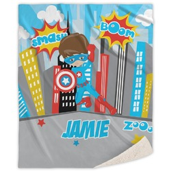 Superhero in the City Sherpa Throw Blanket (Personalized)