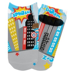 Superhero in the City Adult Ankle Socks (Personalized)