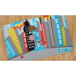 Superhero in the City Area Rug (Personalized)