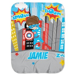 Superhero in the City Baby Swaddling Blanket (Personalized)