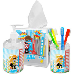 Superhero in the City Bathroom Accessories Set (Personalized)