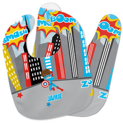 Superhero in the City Baby Bib w/ Name or Text