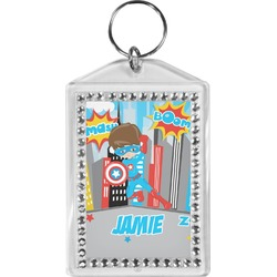 Superhero in the City Bling Keychain (Personalized)