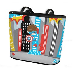 Superhero in the City Bucket Tote w/ Genuine Leather Trim (Personalized)