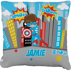 """Superhero in the City Faux-Linen Throw Pillow 26"""" (Personalized)"""