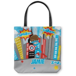 """Superhero in the City Canvas Tote Bag - Large - 18""""x18"""" (Personalized)"""