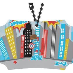 Superhero in the City Rear View Mirror Ornament (Personalized)