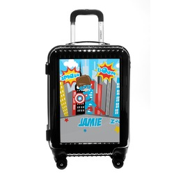 Superhero in the City Carry On Hard Shell Suitcase (Personalized)