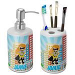 Superhero in the City Ceramic Bathroom Accessories Set (Personalized)
