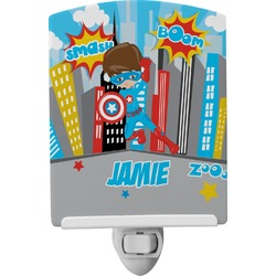 Superhero in the City Ceramic Night Light (Personalized)
