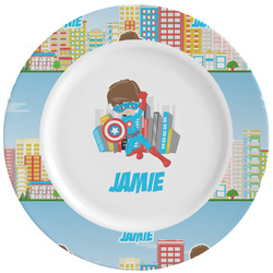 Superhero in the City Ceramic Dinner Plates (Set of 4) (Personalized)