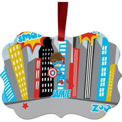 Superhero in the City Ornament (Personalized)