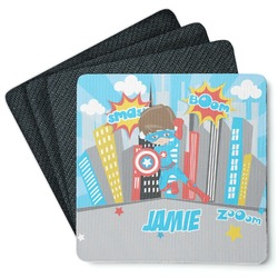 Superhero in the City 4 Square Coasters - Rubber Backed (Personalized)