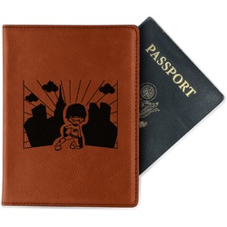 Superhero in the City Leatherette Passport Holder (Personalized)