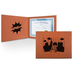 Superhero in the City Leatherette Certificate Holder (Personalized)