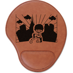 Superhero in the City Leatherette Mouse Pad with Wrist Support (Personalized)