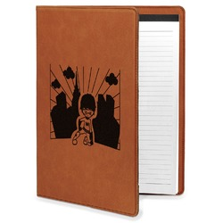 Superhero in the City Leatherette Portfolio with Notepad - Large - Single Sided (Personalized)