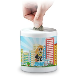 Superhero in the City Coin Bank (Personalized)