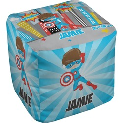 Superhero in the City Cube Pouf Ottoman (Personalized)