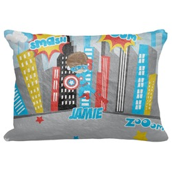"Superhero in the City Decorative Baby Pillowcase - 16""x12"" (Personalized)"