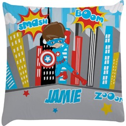 Superhero in the City Decorative Pillow Case (Personalized)