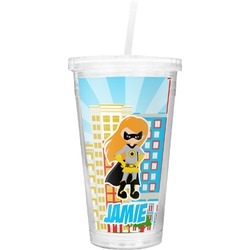 Superhero in the City Double Wall Tumbler with Straw (Personalized)
