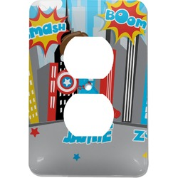 Superhero in the City Electric Outlet Plate (Personalized)