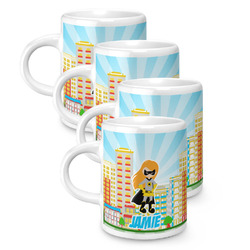 Superhero in the City Espresso Mugs - Set of 4 (Personalized)