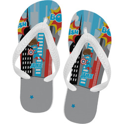 Superhero in the City Flip Flops (Personalized)
