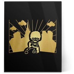 Superhero in the City 8x10 Foil Wall Art - Black (Personalized)