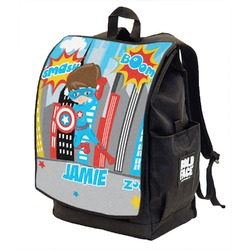 Superhero in the City Backpack w/ Front Flap  (Personalized)