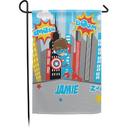 Superhero in the City Single Sided Garden Flag (Personalized)