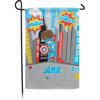 Superhero in the City Garden Flag - Single or Double Sided (Personalized)