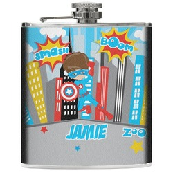 Superhero in the City Genuine Leather Flask (Personalized)