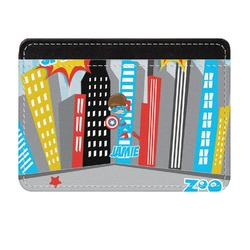 Superhero in the City Genuine Leather Front Pocket Wallet (Personalized)