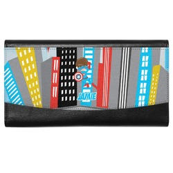Superhero in the City Genuine Leather Ladies Wallet (Personalized)