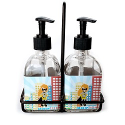 Superhero in the City Glass Soap & Lotion Bottles (Personalized)