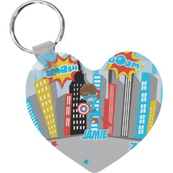 Superhero in the City Heart Keychain (Personalized)