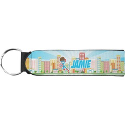 Superhero in the City Neoprene Keychain Fob (Personalized)