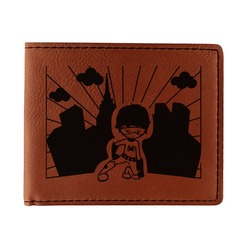 Superhero in the City Leatherette Bifold Wallet (Personalized)