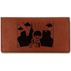 Superhero in the City Leatherette Checkbook Holder (Personalized)