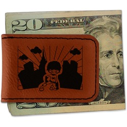 Superhero in the City Leatherette Magnetic Money Clip (Personalized)
