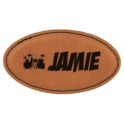 Superhero in the City Leatherette Oval Name Badge with Magnet (Personalized)