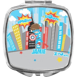 Superhero in the City Compact Makeup Mirror (Personalized)
