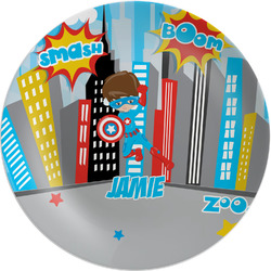 """Superhero in the City Melamine Plate - 8"""" (Personalized)"""