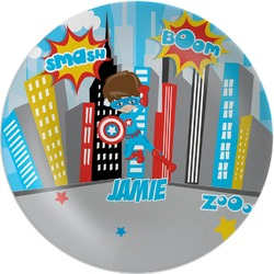 Superhero in the City Melamine Plate (Personalized)