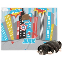 Superhero in the City Dog Blanket (Personalized)
