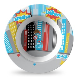Superhero in the City Plastic Bowl - Microwave Safe - Composite Polymer (Personalized)