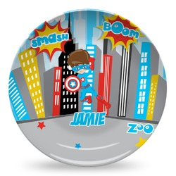 Superhero in the City Microwave Safe Plastic Plate - Composite Polymer (Personalized)