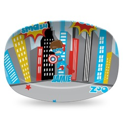 Superhero in the City Plastic Platter - Microwave & Oven Safe Composite Polymer (Personalized)